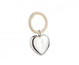 Rattle Heart on ring (B90 heavy silver plated)